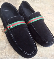 Angelino Black Suede Slipon Shoes