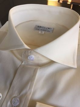 Angelino Cream Spread Collar Shirt size S(15.5)