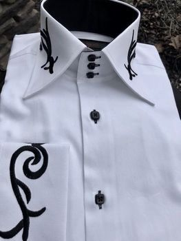 Axxess White with Black Embroidery High Collar Shirt S(14.5 - 15)