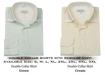 Angelino Double Collar Shirts Green and Cream
