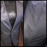 Blowout -Angelino Blue Grey Waxed Denim Blazer