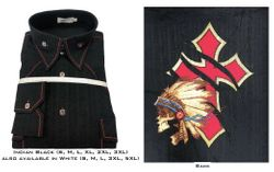 Black Indian High Collar Shirt (or White Indian see sizes)
