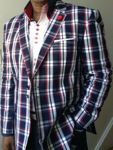 Angelino Red Navy Check Blazer size48r