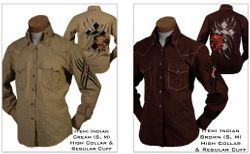 Angelino Indian Brown and Cream High Collar Shirts