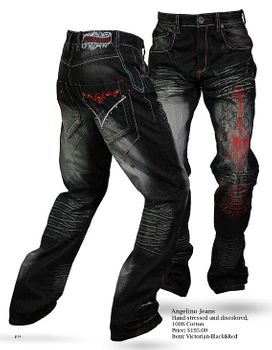 Angelino Victorian Black and Red Embroidered Denim Jeans