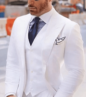 White 3pc Peak lapel Suit  46L