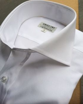 Angelino White Spread Collar Shirt S(15.5)
