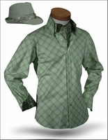Angelino Yuma Green shirt with Ascott and Fedora 15.5 (S)