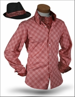 Angelino Yuma Plum High Collar Shirt w/Ascot and Fedora M(16)