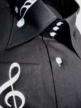 Axxess Black Music Note High Collar Shirt