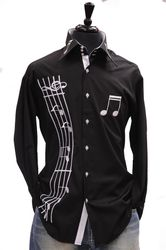 Axxess Black White Music Note shirt Full view