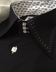 Axxess Black with White Double Stitch High Collar Shirt