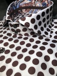 Axxess Brown White Spread Polka Dot Shirt XL(17 - 17.5)