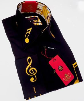 'NEW' Axxess Limited edition Black Gold Music Note High Collar Shirt.