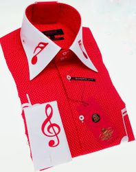 'NEW' Axxess Limited edition White Red Music Note High Collar Shirt
