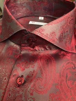 MorCouture Red Bronze Spread Collar Shirt XL(17 - 17.5)