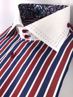 Axxess Red Navy White Stripe Spread Collar Shirt XL(17 - 17.5)