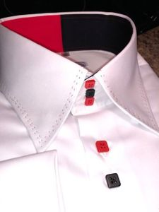 White Red Black Stitch High Collar Shirt 2XL(18 - 18.5)