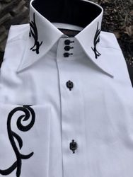 Axxess White Black Embroidered High Collar Shirt