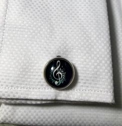 Black Clear Cover Music Note Cufflinks