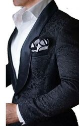 Blowout--Black Embossed Shawl Tuxedo Blazer