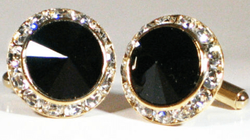 Black Gold Swarovski Crystal Cufflinks.