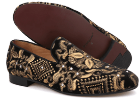 Black Gold Velvet Embroidered Rhinestone Slip-on Shoes
