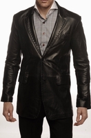 Blowout - Black Pic Stitch Leather Blazer Slimfit