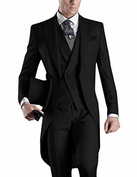 Black Tuxedo Tail 4pc Suit.