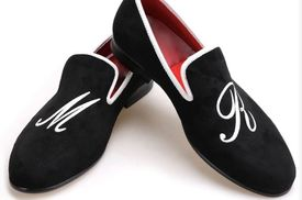 Black Velvet Custom Initial &nbsp Slip-on Shoes