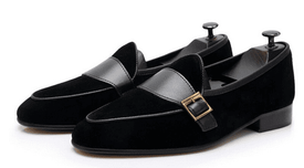 Black Velvet Monk Strap Shoes