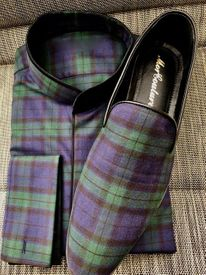 Black Watch Plaid Band Collar Shirt and Matching Shoes