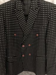 Black White Dot Double Breasted Blazer