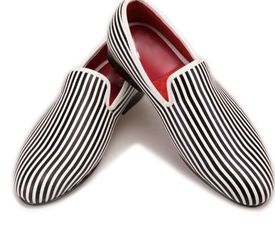 Black White Stripe Slip-on Shoes