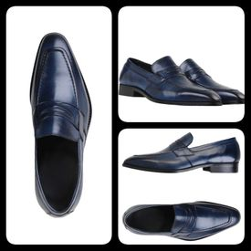 Blue Leather Italian Loafers