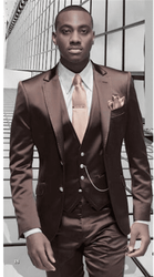 Brown Satin 3pc Suit -Special Order