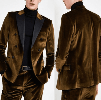 Brown Velvet Black Trim Double Breasted Suit -special order