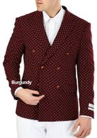 Burgundy White Dot Double Breasted Blazer