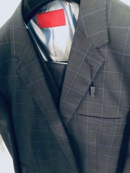 Charcoal Blue Windowpane 3pc suit 46L