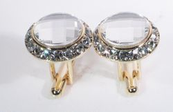 Clear Swarovski Crystals w/Gold trim Cufflinks