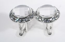 Clear Swarovski Crystals w/Silver trim Cufflinks