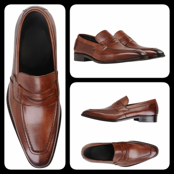 Cognac Leather Italian Loafers