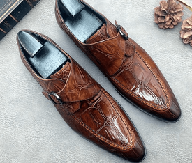 Crocodile Embossed Leather Monk Strap Shoes