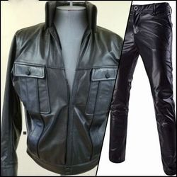 Custom Leather High Collar Suit