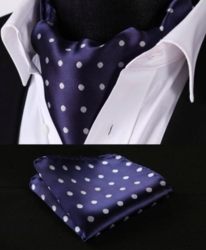 Navy White Dot Ascot with hanky