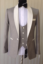 Dark Tan Ivory Trim 3Pc Tuxedo -special order