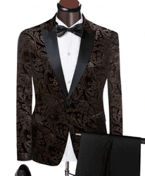 Dark Taupe Paisley Tuxedo -Special Order