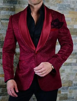 Deep Red Embossed Shawl Tuxedo Blazer.-Special order