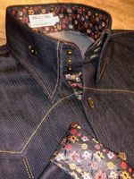 Denim Rainbow Trim High Collar Shirt fits size M