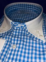 MorCouture Blue Gingham Double Collar Shirt XL Slimfit
